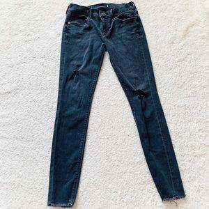 Express black raw hem skinny jeans distressed stre